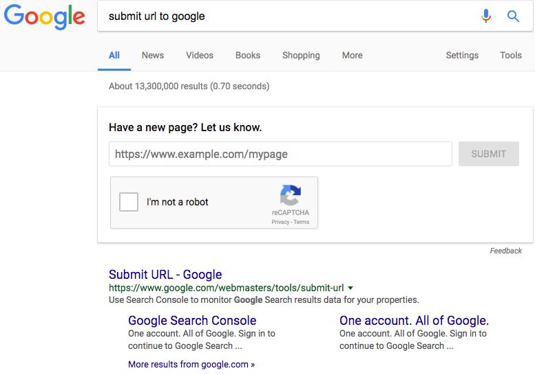 Submit URLs to Google
